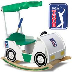 The PGA TOUR Golf Cart Rocker is a great way get your child excited about golf at an early age. The Golf Cart Rocker features painted wheels, headlights,. Golf Nursery, Nursery Themes, Nursery Prints, Baby Boy Rooms, Baby Boy Nurseries, Golf Gifts, Baby Gifts, Kids Gifts, Golf Baby Showers