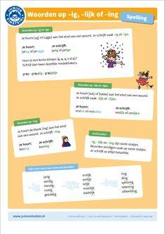 Op deze uitlegkaart staat de instructie over woorden op -ig, -lijk en -ing. Naast alle instructie staan er afbeeldingen op de kaart om het leren ook leuk te maken. De uitlegkaart kan je helpen tijdens het oefenen, zowel online als op papier.  Vind meer uitlegkaarten op www.taal-oefenen.nl Learn Dutch, Live Life Love, Grammar, Einstein, Language, Teaching, Writing, Event Posters, Ideas