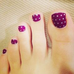 Pretty Toe Nail Art Ideas - For Creative Juice - Polka Dots on Purple Toe Nails. Purple Toe Nails, Pretty Toe Nails, Cute Toe Nails, Summer Toe Nails, Pretty Toes, Gorgeous Nails, My Nails, Purple Toes, Amazing Nails