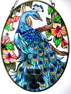 """Amia Stained Glass Suncatcher 5 5"""" x 7"""" Oval Peacock Oval 8250"""