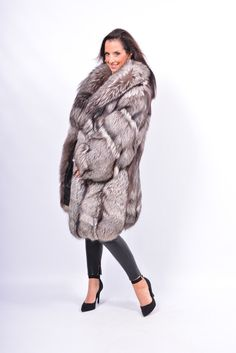 Saga Silver FOX FUR Coat Silberfuchs Manteau DE Fourrure DE Renard Blue White | eBay