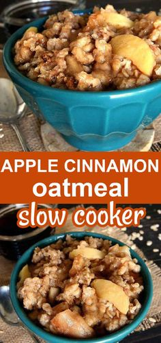Homemade Apple Cinnamon Oatmeal is so easy to throw in the crock pot at night. Then when you wake up in the morning you'll have a warm and healthy breakfast all ready. Fruit included! Fast Dinner Recipes, Delicious Breakfast Recipes, Delicious Vegan Recipes, Brunch Recipes, Healthy Recipes, Healthy Meals, Healthy Eating, Slow Cooker Breakfast, Clean Breakfast