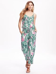 Old Navy Printed Cami Jumpsuit For Women Size S - Multi green floral