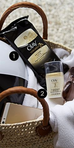Olay Total Effects Wet Cleansing Cloths and Moisturizer with SPF 30 are essential for cleansing and protecting your skin from the sun! Step 1: lift away dirt and make-up from your face with cleansing cloths. Step 2: apply moisturizer liberally before sun exposure.
