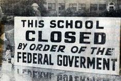 """For the second time in two years, many in Arkansas tried to assert state's rights over the authority of federal courts and the power of President Eisenhower. During the """"Lost Year"""", LITTLE ROCK was further torn by racial conflict, societal disruptions, and political machinations.  Denying an education to all Little Rock high school youth profoundly affected thousands of families as the city ruptured into an even more divided community. -- 1958-1959"""