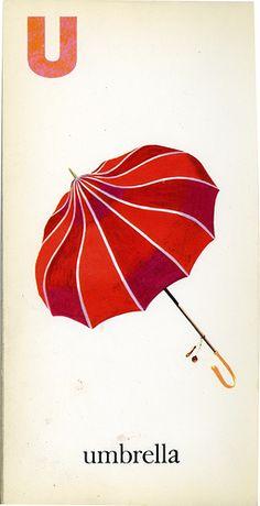 """U"" is for 'Umbrella' ~ Vintage Children's ABCs Flash Card"
