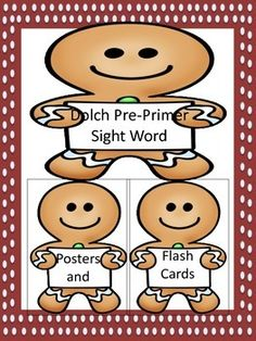 #Gingerbread Boy #Dolch #PrePrimer #SightWord #Posters and #Flashcards Here is a set of Gingerbread Boy Dolch Pre-Primer sight word posters and flashcards. They can be used at center time or any other time to help students practice #highfrequencyword recognition in order to build #reading #fluency.  #languagearts #TPT #Teacherspayteachers #teachers http://www.teacherspayteachers.com/Product/Gingerbread-Boy-Dolch-Pre-Primer-Sight-Word-Posters-and-Flashcards-1564546