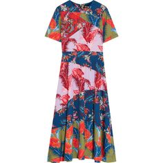 House of Holland Printed crepe de chine midi dress ($520) ❤ liked on Polyvore featuring dresses, blue, colorful midi dresses, blue dress, floral print dress, flower print dress and multi colored dress