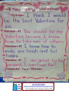 Opinion Writing- have kids help me convince Mr. Pruitt to be my Valentine!