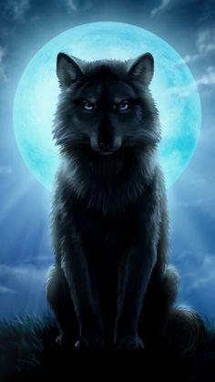 Wolf under a full moon - Wolf under a full moon - Fantasy Wesen, Fantasy Wolf, Anime Wolf, Mythical Creatures Art, Fantasy Creatures, Wolf Artwork, Wolf Painting, Wolf Spirit Animal, Wolf Wallpaper