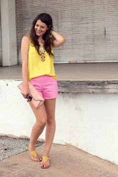Loving the colour...not to say I dont wear black with practally every outfit but like the pink and yellow