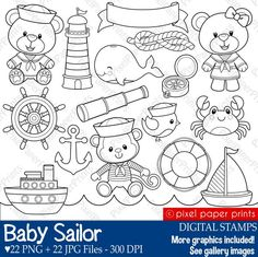 Items similar to Baby Sailor Stamps - Digital stamps - Clip art on Etsy Clip Art, Felt Crafts, Paper Crafts, Scrapbook Kit, Digital Stamps, Digital Scrapbooking, Clear Stamps, Embroidery Designs, Ribbon Embroidery