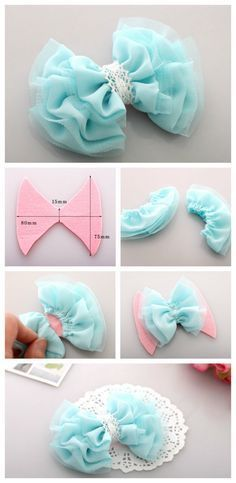 42 New ideas craft baby diy projects Tulle Bows, Tulle Fabric, Ribbon Bows, Fabric Flowers, Ribbons, Diy Flowers, Tule Flowers, Fabric Flower Headbands, Sewing Headbands
