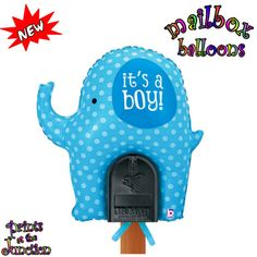 "Baby boy large elephant balloon/welcome home baby boy outdoor blue elephant balloon sign for the mailbox/It's A Boy baby shower balloon sign featuring a generously sized 31"" blue polka dot elephant that states, ""It's A Boy"" and is uniquely shaped to fit on top of a standard sized mailbox and is secured with ties at the bottom of the balloon."