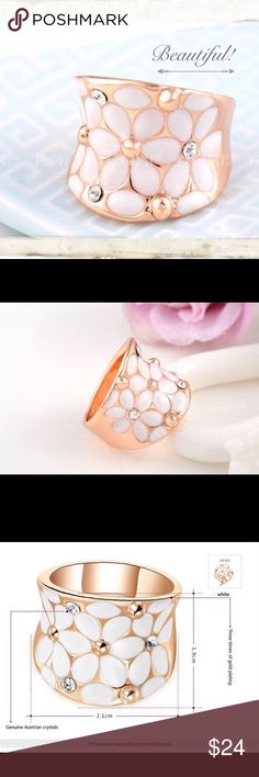 Beautiful Rose Gold Daisy Ring New rose gold plated Daisy ring with real Austrian crystals. 3X rose gold plating. Bundle and save. Jewelry Rings