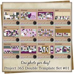 Project 365 Double Template Set #01 {Bundle} Page Borders, Free Digital Scrapbooking, Project 365, Vintage Ephemera, Journal Cards, Page Design, First Photo, Word Art, Scrapbook Pages