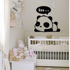 Wall Vinyl Sticker Decals Mural Room Design Decor Art Bedroom Panda Bear Sleeping Zzz Nursery Bed Ki