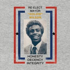 "Back to the Future -   ""Re-elect Mayor Goldie Wilson""  Election campaign shirt, in store now.   #BacktotheFuture, #Mayor, #tee, #shirt, #slogan, #campaign, #election, #goldie, #wilson, #movie, #film,"