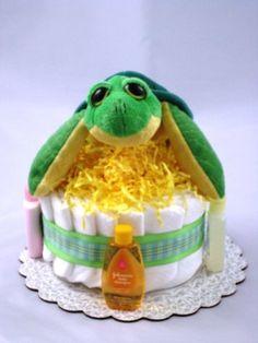 Turtles and cloth diaper cake.