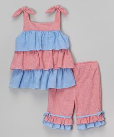 Look at this Petit Pomme Red & Blue Ruffle Top & Capri Pants - Infant & Toddler on #zulily today!