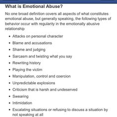 Emotional  Abusers ~and the law doesn't protect the victims. In essence, we have generation after generation being affected.