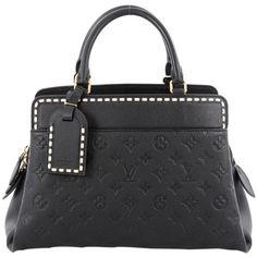 Pre-Owned Louis Vuitton Vosges Handbag Monogram Empreinte Leather MM (110,145 DOP) ❤ liked on Polyvore featuring bags, black, real leather bags, louis vuitton bags, strap bag, hardware bag and studded bag