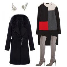 Ca & Lou Crystal Jacket Earrings, Zara Color Block Dress, Guess Zonian Suede Boots, ROMWE Faux Fur Black Zippered Coat