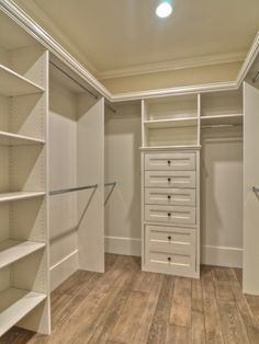 I would put the shelving at the back section along the side and back for shoes and keep the straight rods more easily accessible - love this! Is their room for a washer and dryer in there too?;)                                                                                                                                                     More