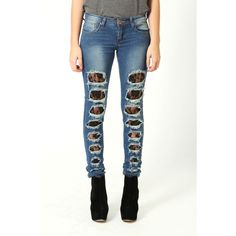 Alice Skinny Jeans With Black Lace Rip Insert ($50) ❤ liked on Polyvore