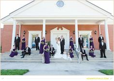 Church Steps for the Bridal Party.  Purple Wedding Colors.
