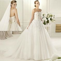 Designer Ivory White Pleated Tulle Wedding Bridal Dresses Gowns Custom SKU-118020