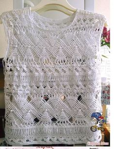 - Salvabrani Crochet Tank Tops, Crochet Shirt, Crochet Lace, Crochet Stitches, Crotchet Patterns, Crochet Cardigan Pattern, Crochet Doll Clothes, Trends, Knitting