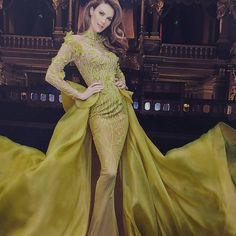 Fins the most luxurious evening couture gowns of your dream. MNMCouture featuring collection Fouad Sarkis, and Gaby Charbachy. Nice Dresses, Formal Dresses, Amazing Dresses, Luxury Dress, Shades Of Green, Sari, Gowns, Couture, Long Sleeve