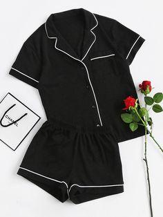 Contrast+Piping+Pocket+Front+Pajama+Set+29.00