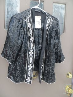 66f755ad95a Items similar to Vtg 80s Beaded Silk Sequin Jacket and skirt pure SILK  Sequins   Beaded by Jewel Queen sz large on Etsy
