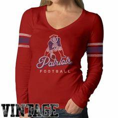 47 Brand New England Patriots Ladies Homerun Long Sleeve V-Neck Vintage T- ceb7333ec