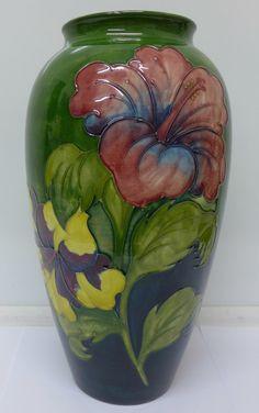 A Moorcroft hibiscus vase