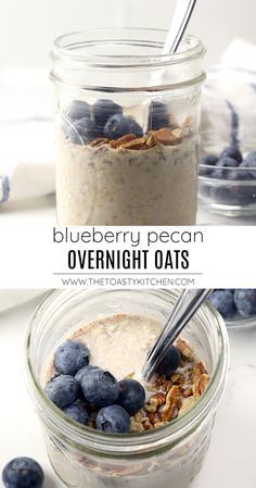 Blueberry Pecan Overnight Oats recipe - by The Toasty Kitchen#overnightoats #blueberryovernightoats #pecans #blueberries #nocook #mealprep #breakfast #oatmeal #oats #recipe Healthy Oatmeal Recipes, Healthy Snack Options, Delicious Breakfast Recipes, Homemade Breakfast, Best Breakfast, Breakfast Ideas, Easy Waffle Recipe, Waffle Recipes, Nut Recipes