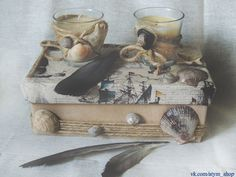 marine box and candles. textile box with shells and hemp rope. Two little candles with shells. Marine, sea inspiration. Sea decor.