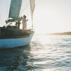 A beautiful and intimate wedding on a sailboat with a very elegant and modern bride and groom