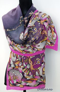 Hand Painted Silk Scarf. Spring Scarf. Blossom Tree by Allaras