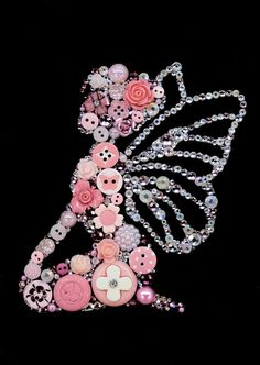 PINK FAIRY2 on Black 5X7 Button Art Button Artwork