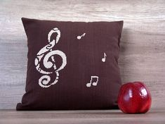 Beige brown music notes cross stitch decorative pillow cover - gift idea for music class graduation