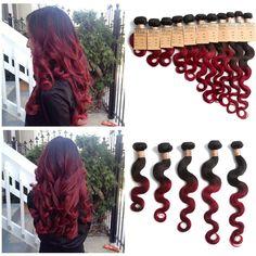 "2/3Bundles Human Hair Ombre Brazilian Hair Extension 14""-20""Body Wave1B BURG# DE"