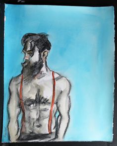 "Hot Mustached Bear in Suspenders with Nice Abs, watercolor on Rives BFK approximately 11""x14"" by Kenney Mencher"
