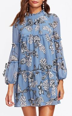 SHEIN Frill Detail Bishop Sleeve Tiered Botanical Dress