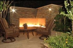 Modern Stone Outdoor Fireplace