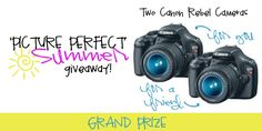 Enter to win a Canon Rebel camera for yourself, AND one for your friend!  A 2nd runner up will be chosen and will win a $100 gift card!  Giveaway ends   http://fabulesslyfrugal.com/2012/05/canon-rebel-camera-giveaway.html