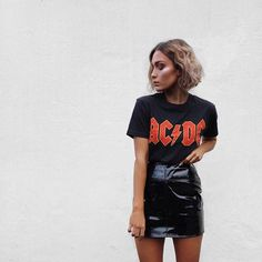 AC/DC Shirt and leather skirt
