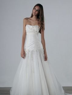 Strapless Mermaid Wedding Dress  with Dropped Waist in Taffeta. Bridal Gown Style Number:32205551